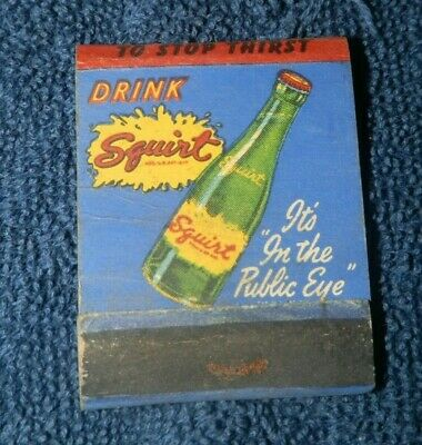 Vtg used  Advertising Matchbook-Squirt Soda-Animated Character Playing Golf