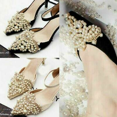 2Pcs Fashion Pearl Flower Shoe Clip Rhinestones Removable Pointed Shoes Decor
