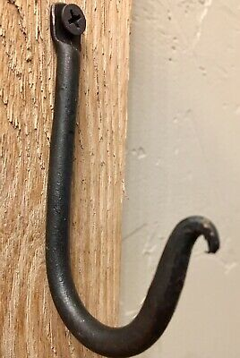 "Black Wrought Iron Wall Hooks ~ 3-1/2"" High Hand Forged Rustic Purse, Mug, Coat"