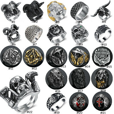 Vintage Men Ring Solid Stainless Steel Gothic Punk Biker Rings Finger Thumb Band