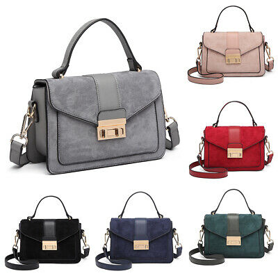 Women Designer Suede Cross Body Shoulder Saddle Bag Fashion PU Leather Satchel