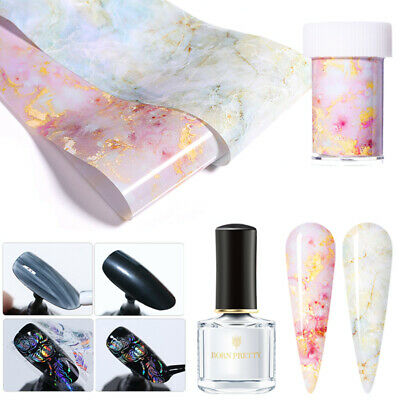 3Pcs/Set Candy Marble Nail Foils Blue Foil Transfers Bright Clear Adhesive Glue