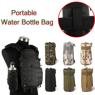 Camouflage Tactical Molle Water Bottle Bag Military Hiking Kettle Holder Pouch