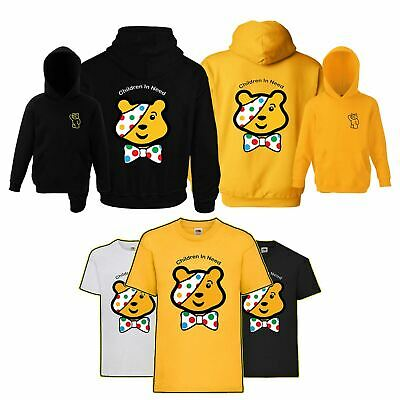 Boys Girls Children In Need Charity Kids Pullover Hoodie T-Shirt Pudsey Bear