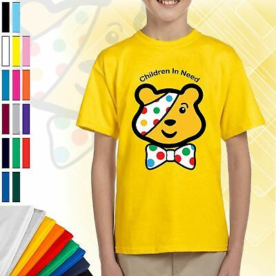 Kids Children In Need 2019 Pudsey Bear T-Shirt Boys Girls School Spotty Day Top