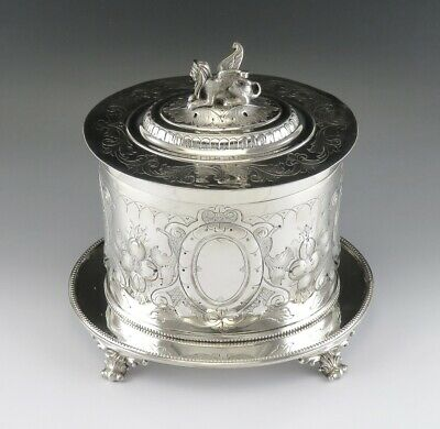 c1860s English Sheffield Mappin & Webb Silver Plate Sphinx Top Tea Caddy