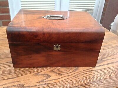 Antique Domed Walnut Large Sewing Box Lock & No Key c1880 Padded Interior