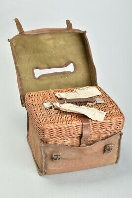 Travellers' Edwardian Canvas Covered Coracle Picnic Set or Luncheon Basket. TWLJ