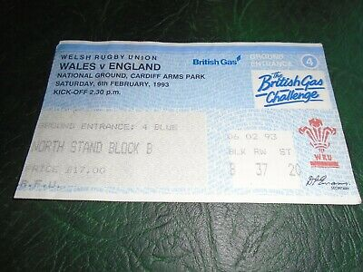 Wales v England Rugby Union 5 Nations Championship 6/2/93 Ticket Stub