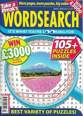3 Take A Break Word Search Magazines Lots Of Puzzles In Each Solutions In Back