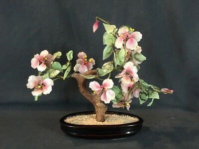 Vintage Asian Bonsai Agate Glass Tree With Jade Colour Leaves (ref G570)