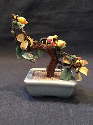 GLASS BONSAI TREE ORIENTAL CELADON POT ORNAMENT  Very Colourful (ref P242)