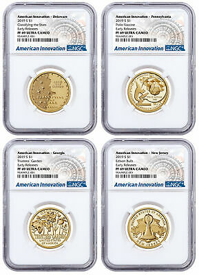 2019 S American Innovation 4-Coin Dollar Proof Set NGC PF69 ER SKU59686