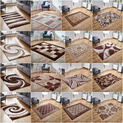 Modern Cosy Shaggy Living Quality Traditional Brown Discount Rugs Runners Sale!!