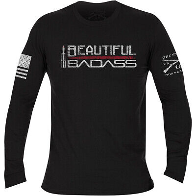 Grunt Style Women's Beautiful Badass Long Sleeve T-Shirt - Black