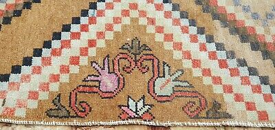 Decorative Antique 1940's Distressed Wool Pile Natural Dye Oushak Area Rug 4x8ft