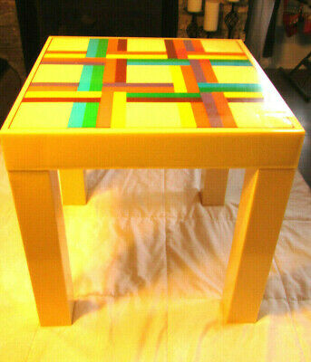 Vintage Rainbow Colored Mid Century Modern 70S Parsons Table Compact Disassembes