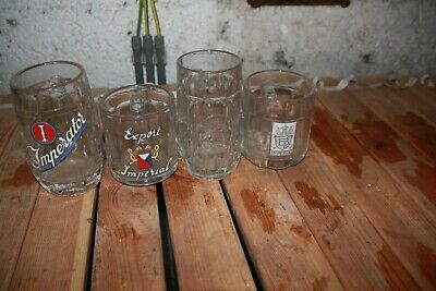 4 Verres Chope Imperial Emaille Brussel Bruxelles