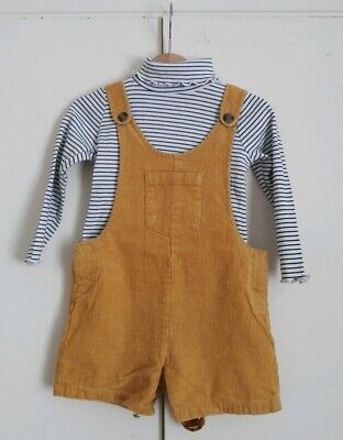 MOTHERCARE 2-3y Girls Mustard Yellow corduroy dungarees & stripy roll neck set