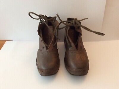 Childs Victorian Leather And Woodern Boots Iron Clad Soles