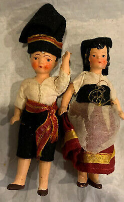 "Antique 1930's HERTWIG Miniature 4"" Marked Germany Bisque Dolls European"