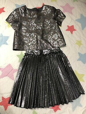 Next Signature Grey Floral Sparkle Outfit Girl 4-5 Years Top Skirt Two-piece