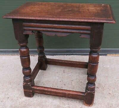 Solid Oak Joint Stool Side Table in the Antique Style