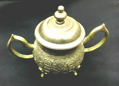 UNIQUE Antique Rare Traditional Hand Carved Brass Moroccan Lidded Trinket Jar
