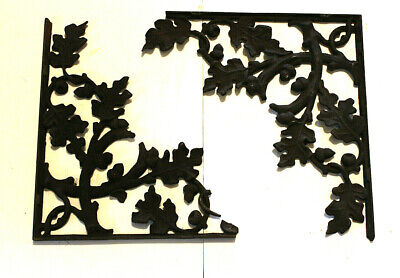 LG Pair 18x16 Vtg Shelf Brackets Architectural Cast Iron Oak Leaves Acorns Decor