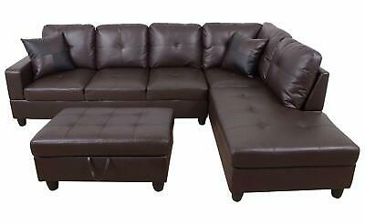 Phenomenal 3 Pc Faux Leather And Microfiber Sectional Sofa With Ottoman Spiritservingveterans Wood Chair Design Ideas Spiritservingveteransorg