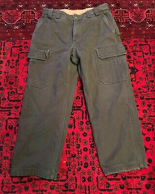 Duluth Trading Co Mens Heavy Grey Canvas Fleece Lined Cargo Work Pants 34x30