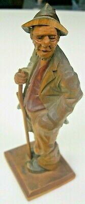 Antique German Black Forest Wood Carved Man Hobo Figure With Walking Stick