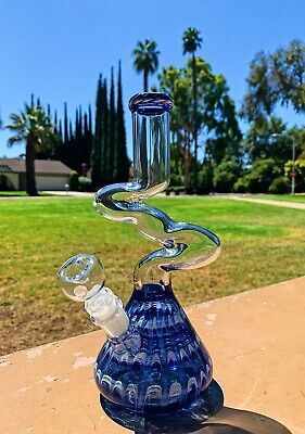 "10"" Glass Zong Blue Designer Hookah Water Pipe Tobacco Bong w/ Downstem"
