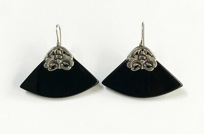 Vintage Chinese Export Sterling Silver Butterfly Black Onyx Dangling Earrings