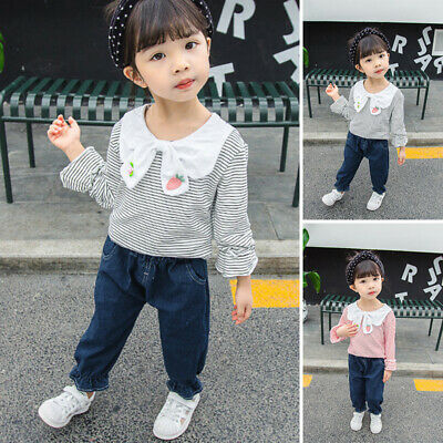 2 Pcs Girls Kids Cute Striped Long Sleeve Tops Jeans Trousers Outfit Pants Set
