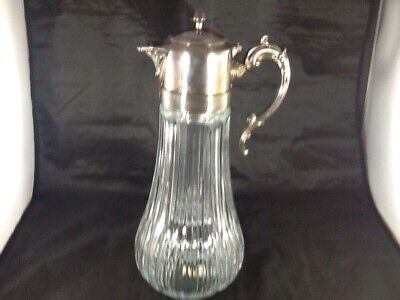 Vintage Silverplate Crystal Glass Hinged Top Pitcher Decanter w/ Ice Insert NICE