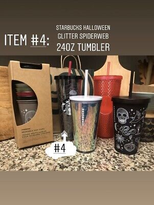 Starbucks Holiday Halloween 2019 Glitter Spiderweb Tumbler 24oz Lid And Straw