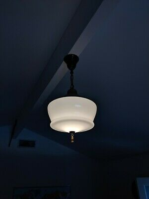 Antique ceiling light fixture glass shade solid brass chain, drip and bell,