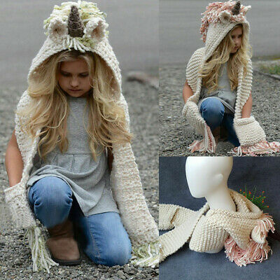 Unicorn Hooded Scarf Animal Hoodie Cowl Crochet Knitted Beanie Hats Winter Warm