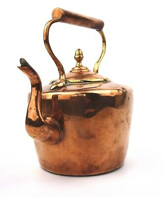 Antique Victorian Copper Kettle Swan Neck Acorn Finial Dovetailed Small