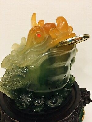 """Huge 12"""" Lucky Wealth Toad Frog Jade Green Corral Statue Base Rotates Feng Shui"""
