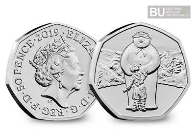 Brand New 2019 UK The Snowman Certified BU 50p Coin