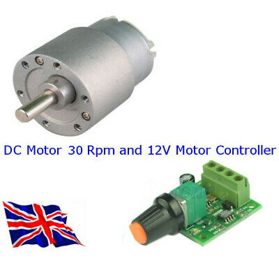 DC MOTOR 12 Volt 30 RPM - and - SPEED CONTROLLER as a Package - Available in UK