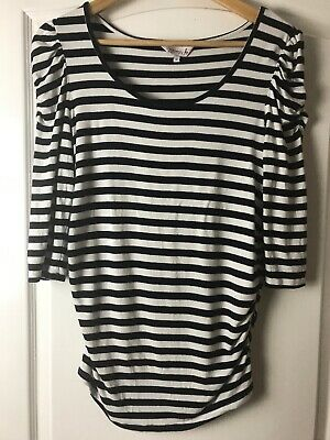Red Herring Navy & White Striped Maternity Top Size 10 Stretch Gathered Top