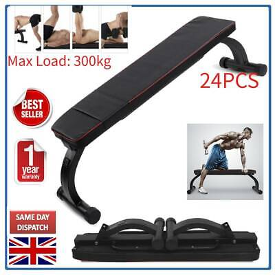 UK Foldable Flat Gym Weight Bench Press Barbell for Dumbbell Lifting Fitness