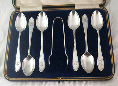 Set Of George V Solid Silver Teaspoons & Tongs - 107g - Sheff. 1912