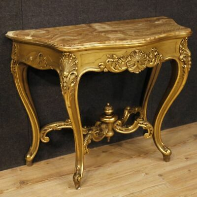 Console Table Console Wood Golden Antique Style Level Onyx Furniture Small Table
