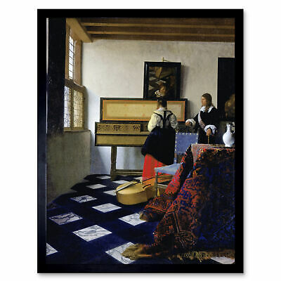 Johannes Vermeer The Music Lesson Painting Wall Art Print Framed 12x16