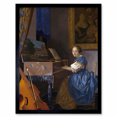 Johannes Vermeer Young Woman Seated At Virginal Painting Art Print Framed 12x16