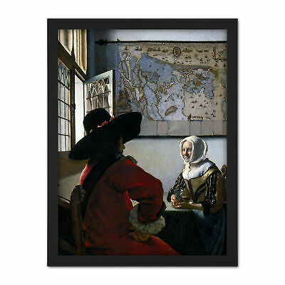 Johannes Vermeer Officer Laughing Girl Painting Framed Wall Art Print 18X24 In